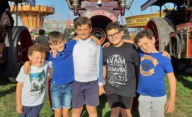 Freddie Wilkinson, Freddie Rogers, John Smith, Seb Henderson & Ashley Lock at the Great Dorset Steam Fair last year. Thanks to John Porter for the photo.