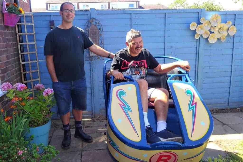 Robbie in the Octopus car with Joby