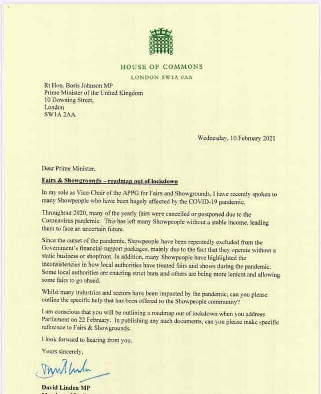 Linden letter to PM