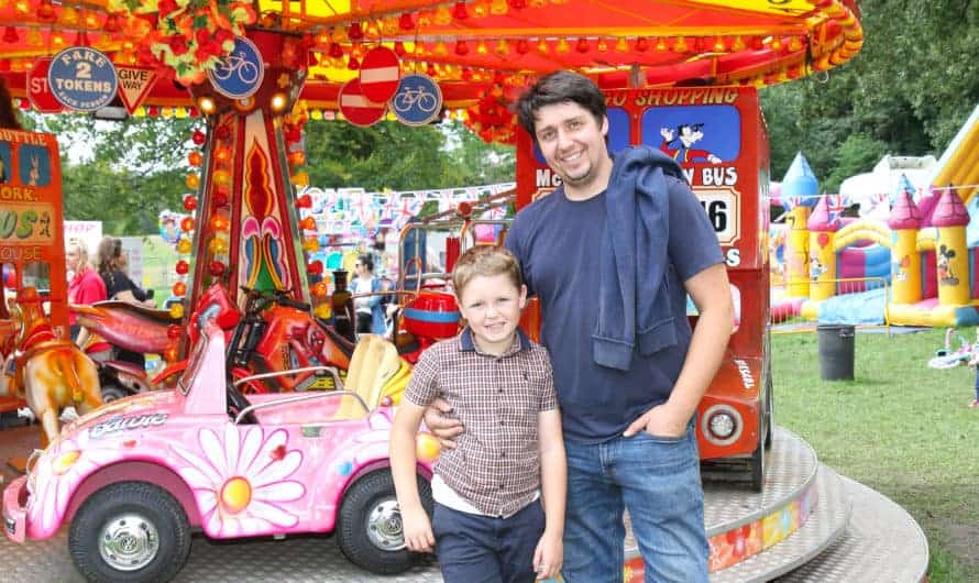 Wilson Leach with dad Garry Michael at Heaton Park Kids Zone fair